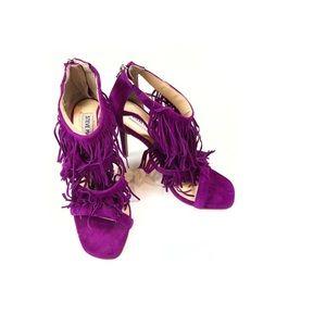 Steve Madden Sandal Purple Fuchsia Fringe Heel 7.5